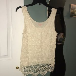 Beige crochet tank top.